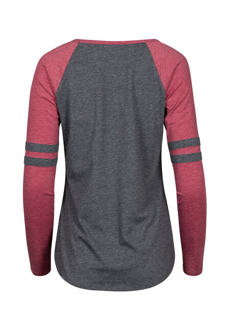 Women's Football Stripe Tee, CHARCOAL/CRIMSON, hi-res
