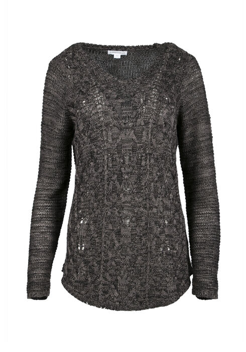 Ladies' Cable Knit Sweater, CHARCOAL, hi-res