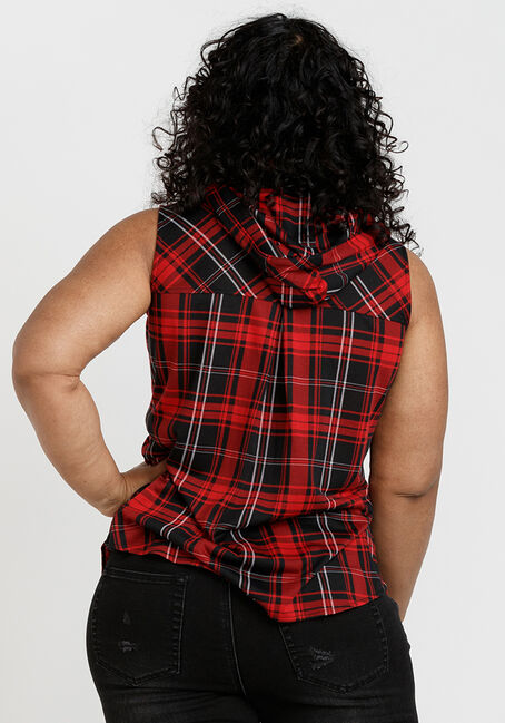 Women's Sleeveless Plaid Hoodie, RED/BLACK, hi-res