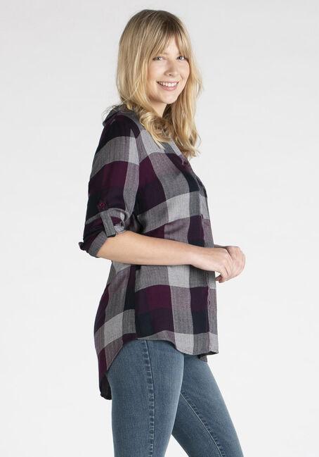 Women's Twill Plaid Shirt, BERRY, hi-res