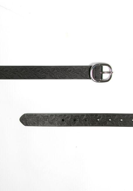 Women's Floral Embossed Belt, BLACK, hi-res