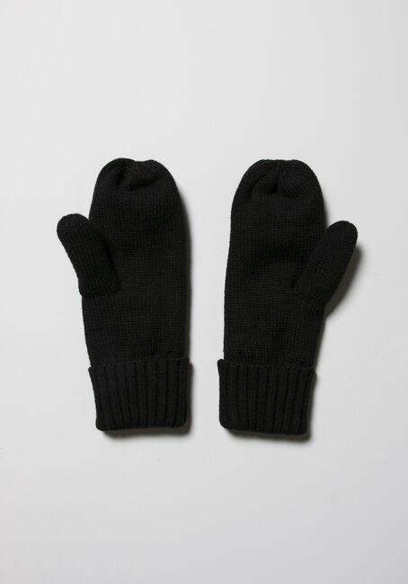 Women's Knit Mittens, BLACK, hi-res