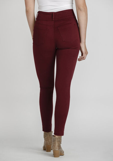Women's High Rise Skinny Coloured Pant, BURGUNDY, hi-res