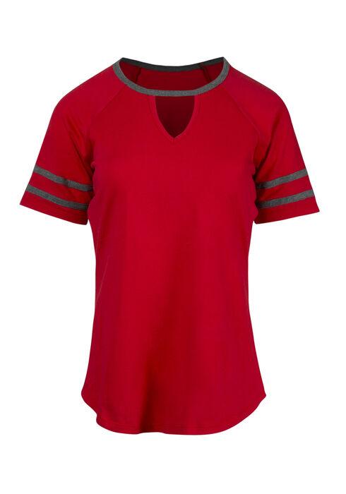 Women's Keyhole Football Tee, RED SEA, hi-res