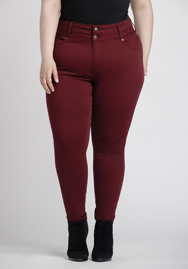 Women's Plus Size High Rise Skinny Coloured Pant, BURGUNDY, hi-res