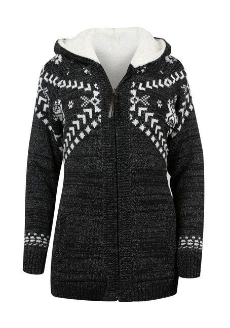 Ladies' Sherpa Lined Nordic Cardigan