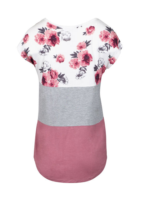Women's Floral Colour Block Top, DUSTY PINK, hi-res