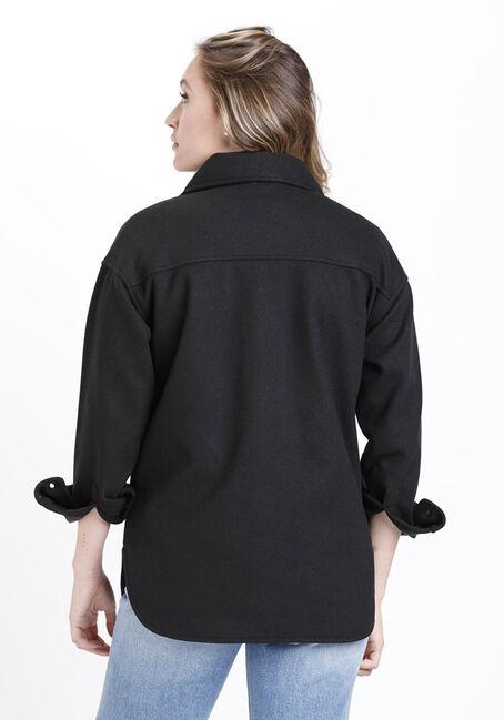 Women's Button Front Shacket, BLACK, hi-res
