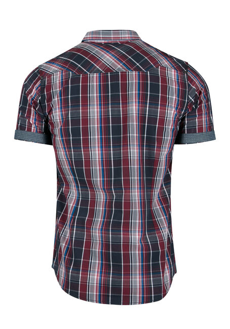 Men's Washed Plaid Shirt, RED, hi-res