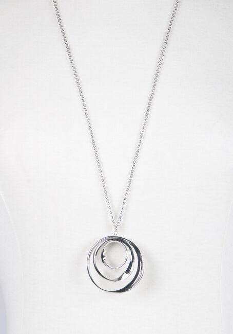 Ladies' Trio Curved Circles Necklace, RHODIUM, hi-res