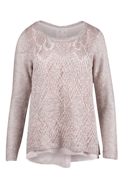 Ladies' Sequin Sweater, BLUSH, hi-res