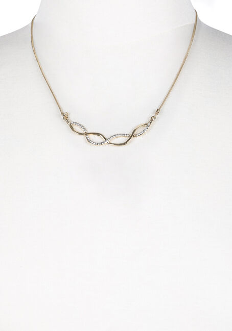 Ladies' Short Swirl Necklace, GOLD, hi-res
