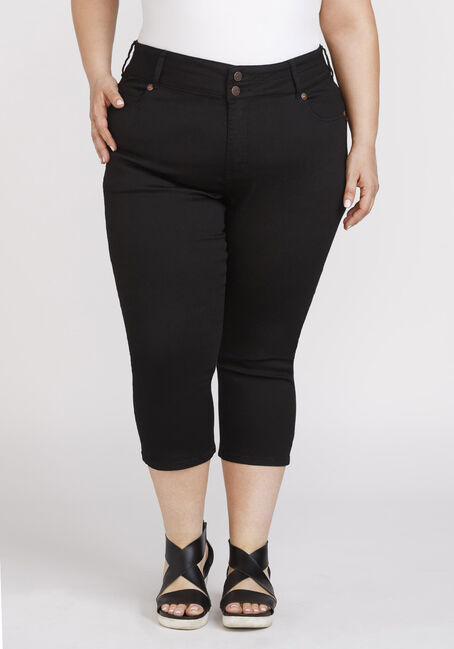 Women's Plus Size Black Skinny Capri