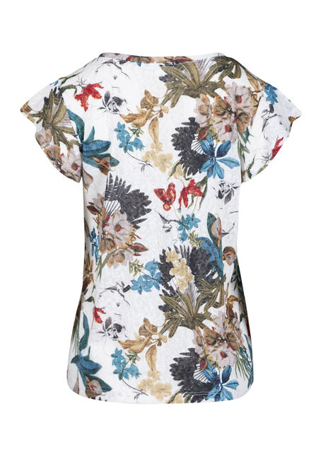 Women's Floral Tie Front Tee, IVORY, hi-res