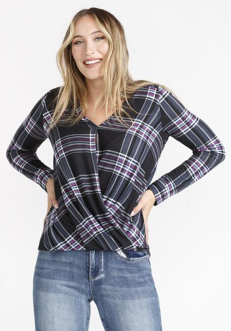 Women's Wrap Front Knit Plaid Shirt