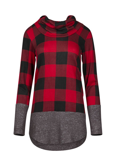 Women's Buffalo Plaid Cowl Neck
