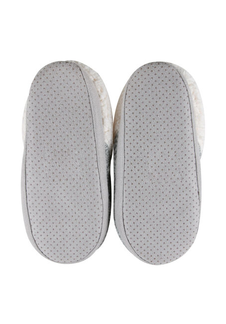 Ladies' Cable Knit Slippers, LIGHT GREY, hi-res