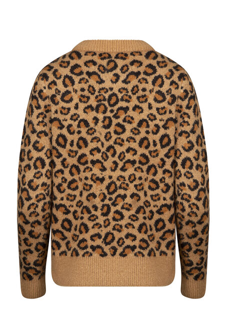 Women's Leopard Print Sweater, NATURAL, hi-res