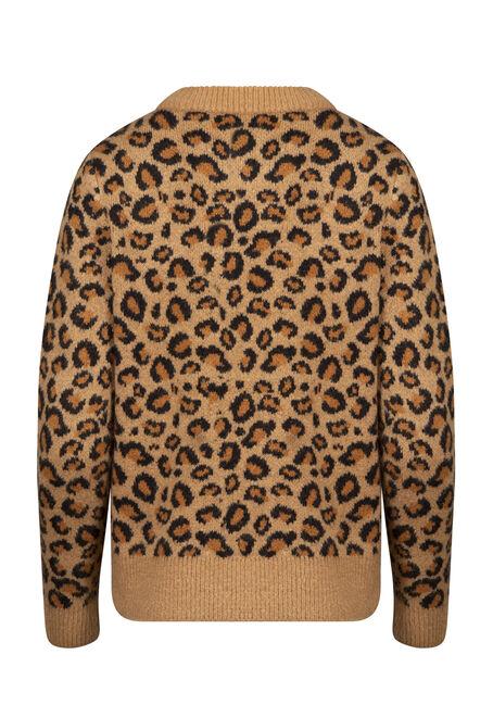 Women's Leopard Print Sweater, NATURAL, hi-res