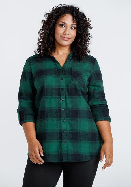 Women's Flannel Plaid Tunic Shirt
