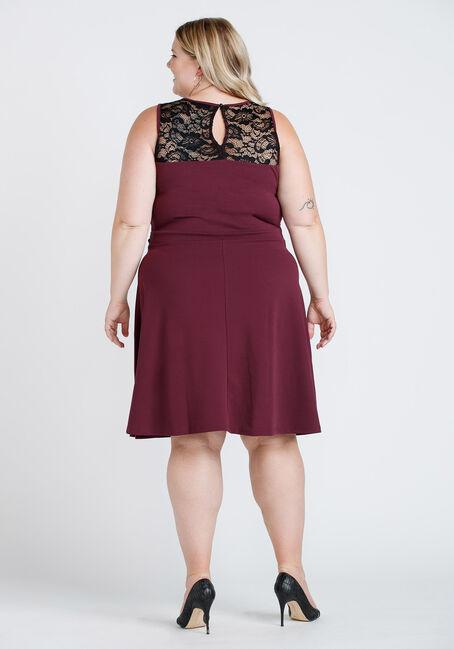 Women's Lace Overlay Dress, BURGUNDY, hi-res