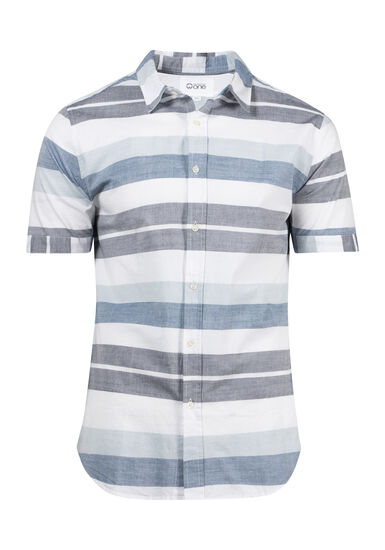 Men's Striped Shirt, WHITE, hi-res