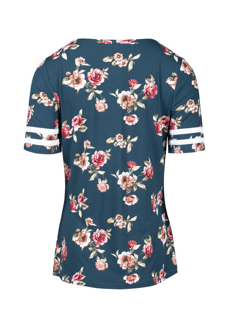 Women's Floral Football Tee, TEAL FLRL, hi-res