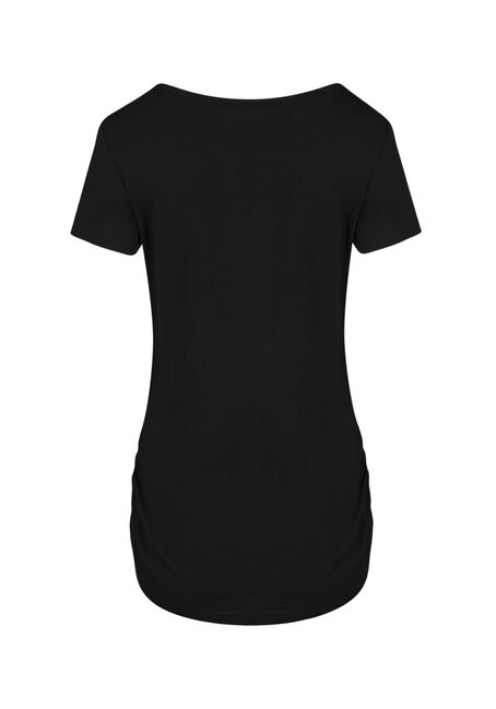 Ladies' Cage Neck Ruched Side Tee, BLACK, hi-res