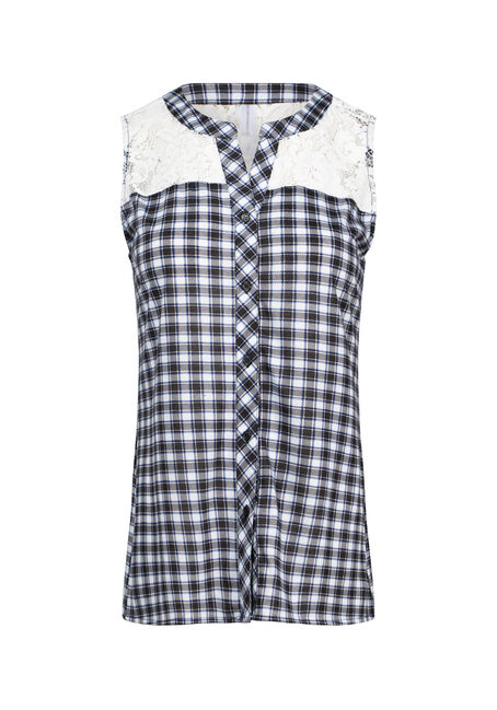 Women's Lace Insert Gingham Plaid Shirt