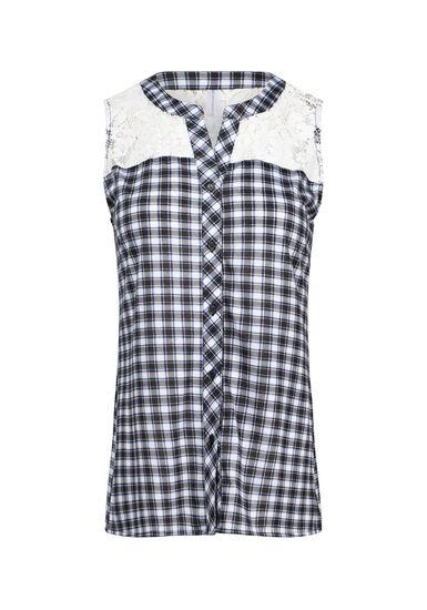 Women's Lace Insert Gingham Plaid Shirt, BLK/WHT, hi-res