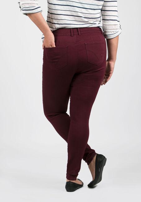 Ladies' Plus Size Skinny Pants, BURGUNDY, hi-res