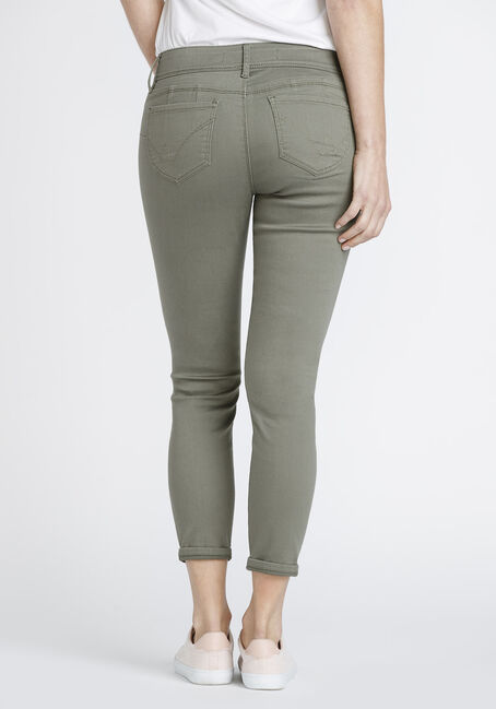 Women's Distressed Skinny Crop, DARK OLIVE, hi-res