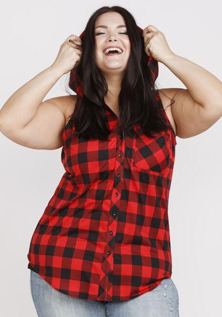 Women's Buffalo Plaid Hooded Shirt, RED/BLACK, hi-res