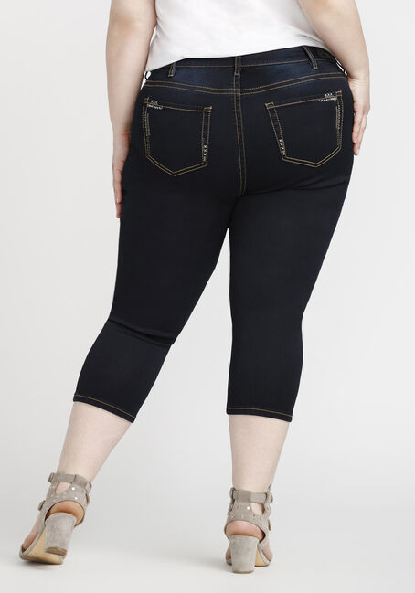 Women's Plus Size Premium Capri, DARK WASH, hi-res