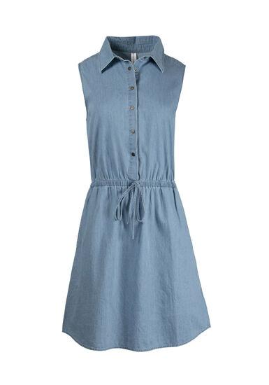 Women's Denim Shirt Dress, LIGHT BLUE, hi-res