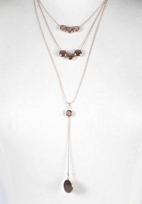 Ladies' Layered Circles Necklace, ROSE GOLD, hi-res