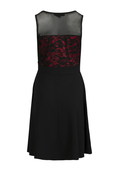 Women's Lace Sweetheart Dress, BLACK, hi-res