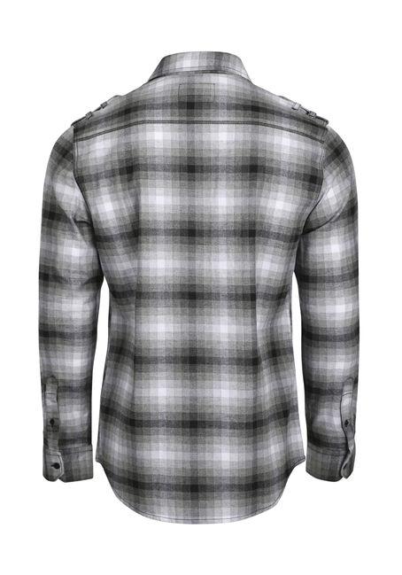 Men's Shadow Plaid Flannel Shirt, BLK/WHT, hi-res