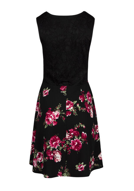 Ladies' Lace Skater Dress, BLACK PRINT, hi-res