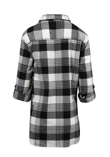 Ladies' Flannel Boyfriend Shirt, BLK/WHT, hi-res