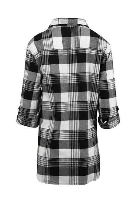 Women's Flannel Boyfriend Shirt, BLK/WHT, hi-res