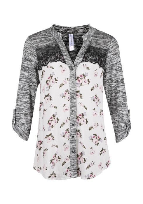 Ladies' Floral Roll Sleeve Shirt, PEACH, hi-res