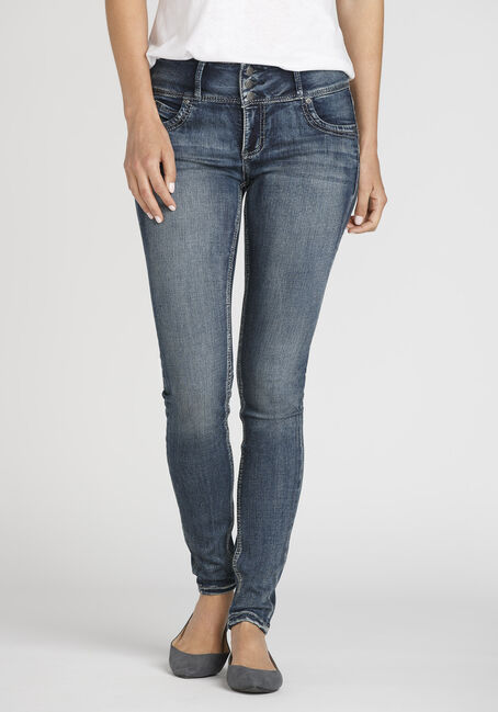 Women's Stacked Button Skinny Jeans