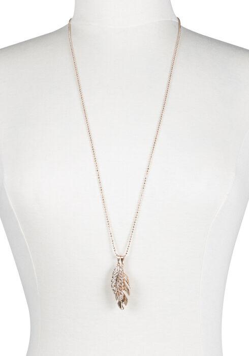 Ladies' Double Leaf Necklace, GOLD, hi-res
