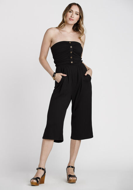 Women's Strapless Jumpsuit, BLACK, hi-res