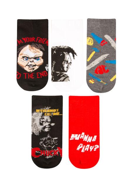 Men's 5 Pair Chucky Socks, RED, hi-res