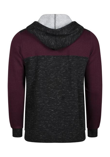 Men's Colour Block Zip Front Hoodie, PLUM WINE, hi-res