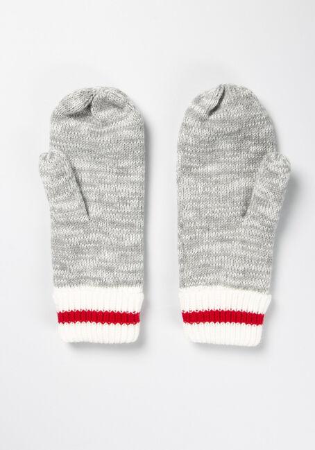 Women's Fleece Lined Cottage Mitten, GREY/RED, hi-res
