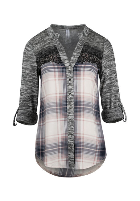 Women's Plaid Roll Sleeve Shirt