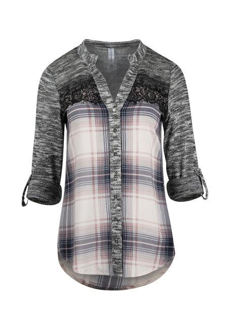 Women's Plaid Roll Sleeve Shirt
